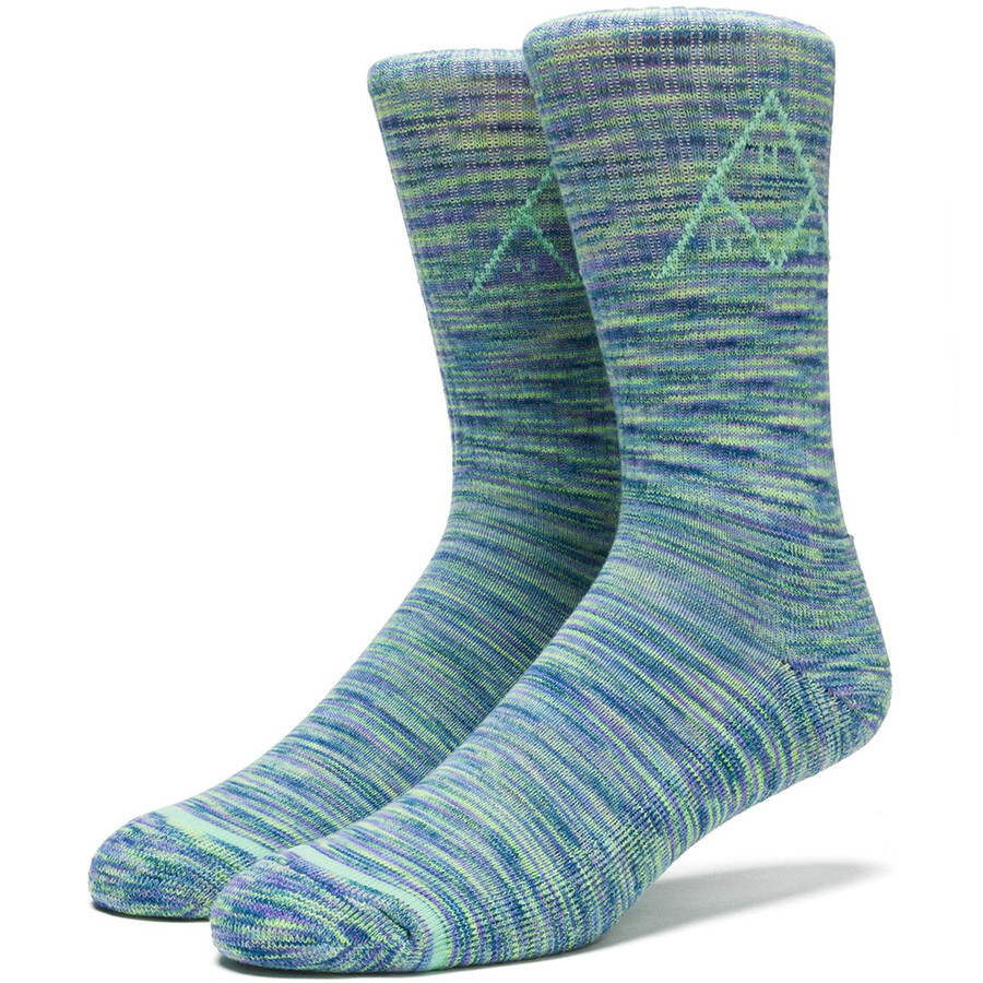 Носки HUF Triple Triangle Melange crew sock blue by agency iworldestate.com