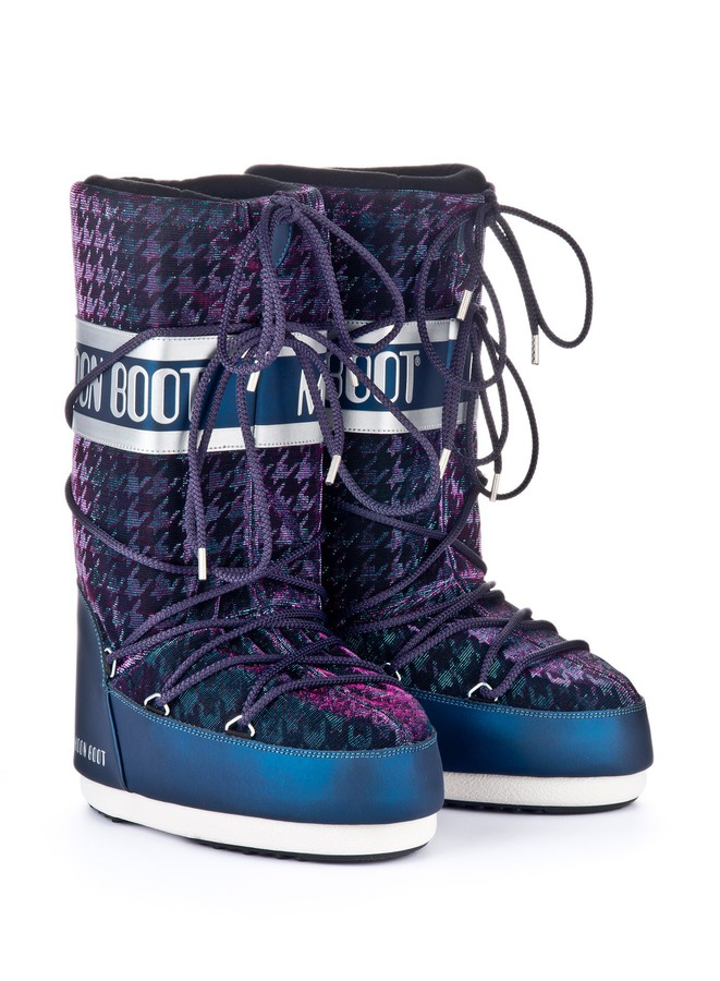Зимние сапоги, мунбуты Tecnica Moon Boot Glam blue silver by agency iworldestate.com