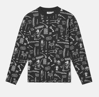 Лонгслив WeSC Fall18 Makai monsters ls t-shirt black