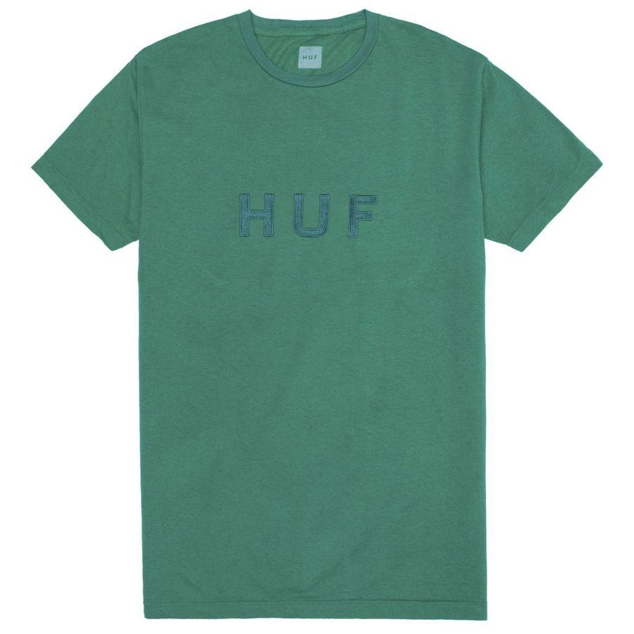 Футболка HUF SP18 OG Logo over dye tee emerald