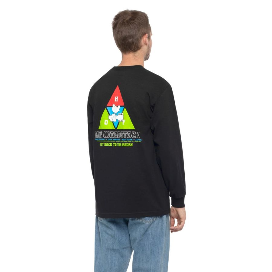 Лонгслив HUF FA19 Woodstock peaking ls tee black -30%