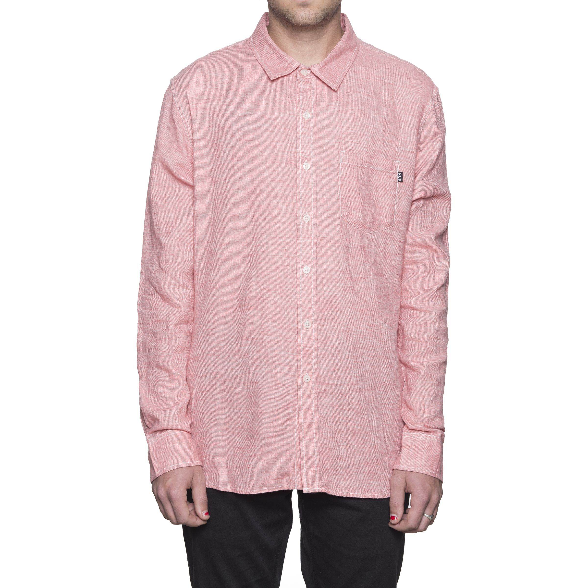 Рубашка HUF Course L/S Chambray shirt pink